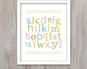 Alphabet art, playroom printable art, abc's, DIY, 8x10 Sign, Playroom Decor, Kids Room, Instant Download, Print Yourself