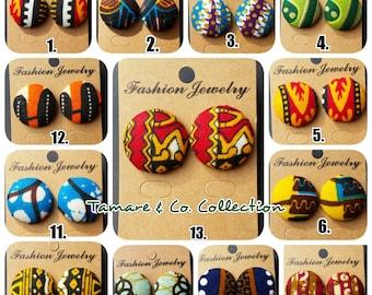 African fabric stud earrings