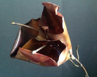 "copper Lily flower petals stamen stem & leaf sculpture balanced on wood base 21"" tall nice patina"