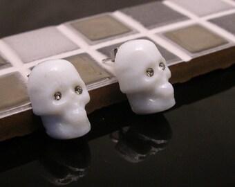 Murano Glass Skull Stud Earrings, surgical steel
