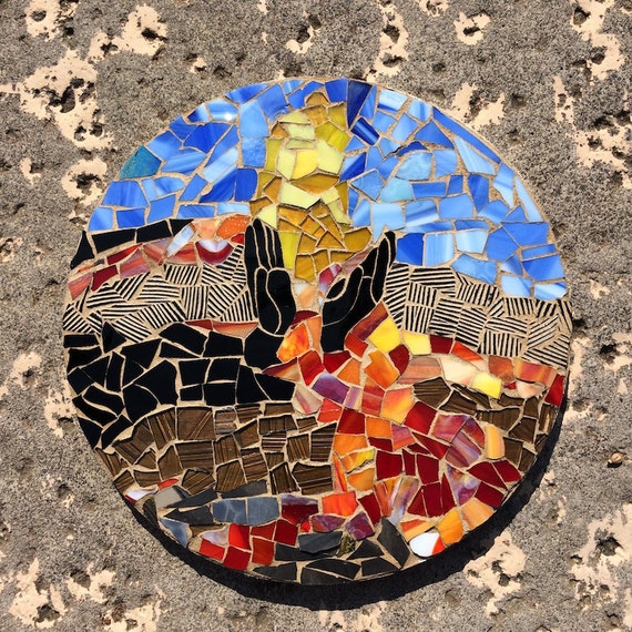 Stained Glass Pele's Hands Volcano Erupting Inspirational Mosaic Art with a Message Made in Hawaii Deesigns by Harris©
