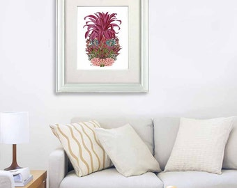 Tropical decor Pink Pineapple print Flowers 2 beach house coastal living pineapple decor Tropical print home decor wall decor pink decor