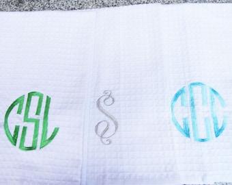 Monogram Waffle Weave Kitchen Towel / Monogram Bath Towel / Monogram Gift