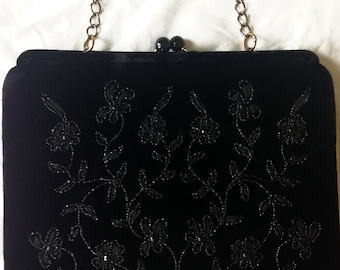 1950's Soure' Black Velvet Handbag with Beads, Cabochons, and Ribbons - Excellent condition