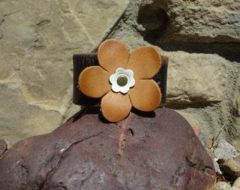 black leather cuff/upcycled leather cuff/flower bracelet/leather bracelet/brown flower cuff/womans bracelet/girls bracelet/jewelry/C158