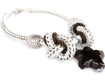 Nautical rope, White and Brown rope necklace, handmade necklace. Fiber Jewelry .Nautical rope OOAK. Must have for elegant / sportive lady
