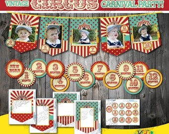 Instant Download Circus Birthday party Photo banner with 12 months sticker without Animals, First Birthday Party, Circus party Decoration