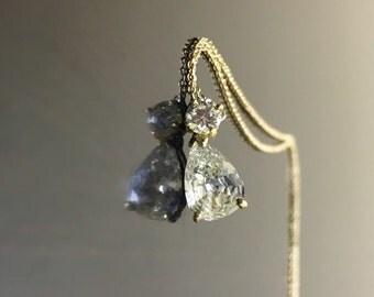 Art Deco Pear Shape Diamond Necklace - 18K Yellow Gold Diamond Drop Necklace - Art Deco 18K Gold Pear Shape Necklace - Pear Shape Pendant