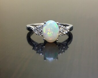 Diamond Opal Engagement Ring - Art Deco Opal Diamond Wedding Ring - 14K White Gold Diamond Opal Ring - Opal Diamond Ring - Gold Opal Ring