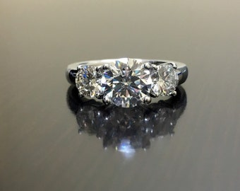 Platinum Three Stone Diamond Engagement Ring - Platinum Diamond Wedding Ring - Art Deco Diamond Platinum Ring - Modern Platinum Diamond Ring
