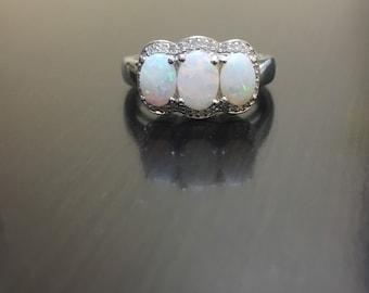 Halo Diamond Opal Engagement Ring - Halo Opal Diamond Wedding Ring - Diamond Opal Ring - Opal Diamond Ring - Halo Opal Ring - Diamond Ring