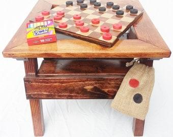 Childrenu0027s Game Table Checkers / Chalkboard Reversible Top, Kids Toddler +  Boy U0026 Girl Heirloom