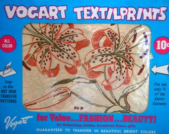 Vogart Textilprints Tiger Lily #46 For Decorating Clothes, Household Linens, Gifts Hot Iron Transfer Pattern 1950s or 1960s