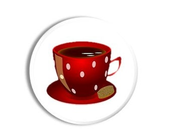 Colorful Bistro Cafe Red Polka Dot Coffee Cup Decorative Kitchen Drawer Knob - Home Decor, Fun, Cabinet, Pull - Handmade, Wood 1214PICN