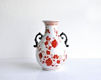 Red and White Handled Floral Porcelain Chinese Vase Underglaze Red Asian Cottage Country English Contemporary Traditional Decor