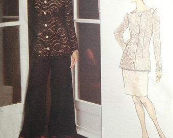 30% OFF SALE Scaasi Top and Skirt Pattern 1990s Vogue 1286 Bust 34-36-38 UNCUT