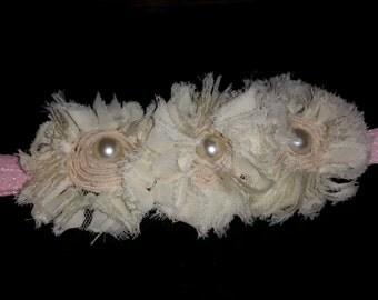 white pearl flower  headband 3-12 months