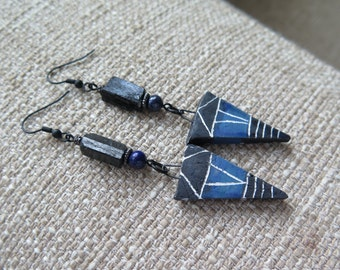 blue earrings, black earrings, dagger earrings, rustic earrings, unique earrings, long earrings, long black earrings, tribal earrings, boho