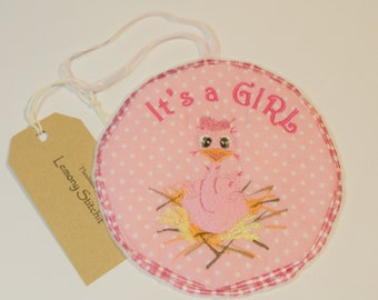 Baby Bird Birth Announcement Hanger