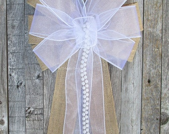 White Sheer Rustic Burlap Wedding Bow, Optional Pearls, Special Event Marriage Decorations, Party, Bridal Baby Shower