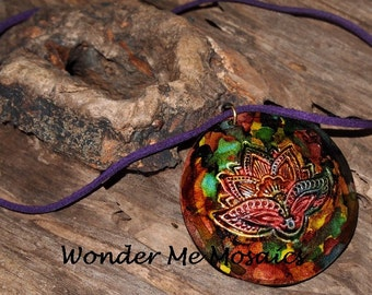 Handmade Alcohol Ink Pendant & Necklace - Forest Colors