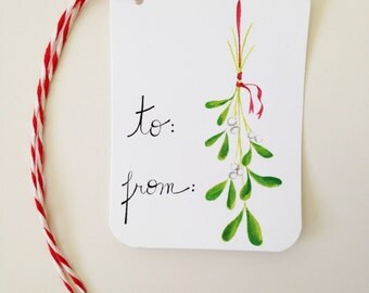 Christmas Gift Tags // Mistletoe Gift Tags // Holiday Gift Tags