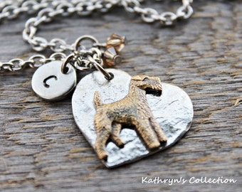 Airedale Terrier Necklace, Airedale Jewelry, Airedale Necklace, Airedale Gift, Heart Dog Jewelry, Lakeland Terrier, Welsh Terrier