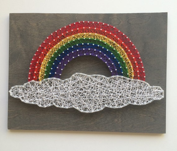 MADE TO ORDER: Rainbow String Art, Nursery Decor, Designs Entwined Nail and String Art