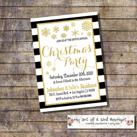 christmas party invitation gold