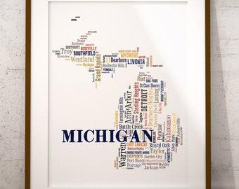 Michigan Map Color Typography Map Art,Michigan Cities & Towns Map Poster,Michigan Poster Print,Text Art Print,Word Map