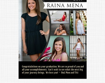 YEARBOOK AD TEMPLATE,High School Senior,Middle,Elementary,Preschool,Dance,Sports,Personalized,Jostens,Full,Half,Quarter Page
