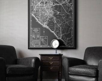 Orange County map print : Black and White vintage Orange County California map print poster 1934
