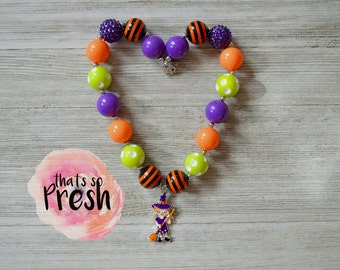 Halloween chunky necklace, Witch necklace, Pumpkin necklace, Chunky bubblegum necklace, Halloween hair bow, Halloween Costume