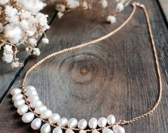 Bridal necklace, gold wedding necklace, pearl bridal jewelry, wedding jewelry, bride, bridesmaid gift, freshwater pearl, gold Grecian vine