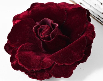 "4-1/2"" Velvet Flower Pin by 1 pc, black, brown, wine, FL-1007"