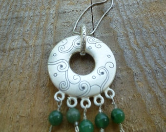 pendant, double sided...harmony with green adventurine necklace