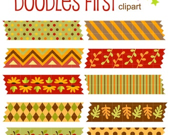 Autumn Washi Tapes Digital Clip Art for Scrapbooking Card Making Cupcake Toppers Paper Crafts