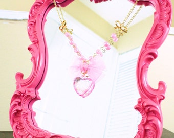 Lolita necklace-gold chain necklace-acrylic bead-pink pendant-gold finding-sweet lolita-fairy kei-bow-Magical Girl-Lolita jewelry-Princess