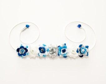 Blue Droid Flower Crown, Flower Headband, R2D2 Headband, R2D2 Costume, Cosplay Crown, Cosplay Costume, Rave Costume, Fandom Merch