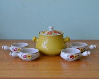 Vintage Retro Fondue pot & ramekins Japanese funky ceramic