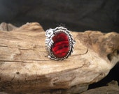 Size 8 Red Paua Shell Ring Statement Ring Handcrafted Signed Piece