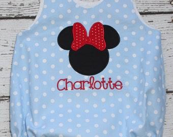 Minnie Monogrammed Bubble, Polka Dot Bubble, Girl Disney Bubble