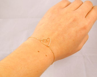 Heart bracelet, heart pregnancy gold bracelet, mother bracelet, mommy bracelet, silver bracelet, wire heart bracelet handmade heart gift 064