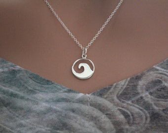 Sterling Silver Wave Charm Necklace, Silver Ocean Wave Charm Necklace, Ocean Necklace, Ocean Lover Necklace, Surfer Necklace, Wave Necklace