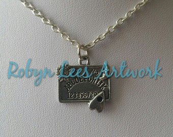 Small Silver Ouija Board Charm Necklace on Silver Crossed Chain or Gunmetal Black Crossed Chain