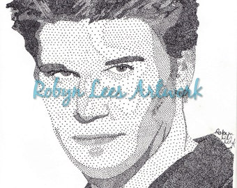 David Boreanaz Art Print, Stippling Dots in Ink Artwork Actor as Angel from Buffy Inspired