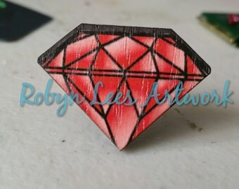 Red Wooden Diamond Shaped Statement Adjustable Silver Ring, Painted Faceted