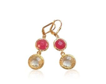 Clear quartz and pink crystal drop earrings, Pink crystal gems statement earrings, Fuchsia pink and gold November birthstone bridal earrings