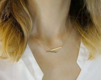 Double Thin bars linked Necklaces