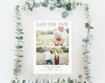 Printable Save the Date Card | Photo Save the Date | Engagement Photo Save the Date  | Modern Save the Date | SD-009
